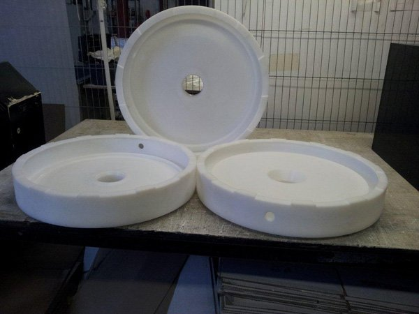 Large diameter turned seal housing in High Density Polyethylene.