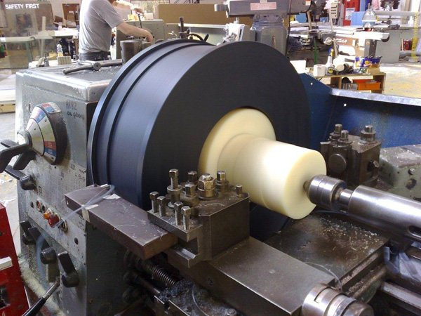 Large diameter track wheels precision turned for the effluent industry.
