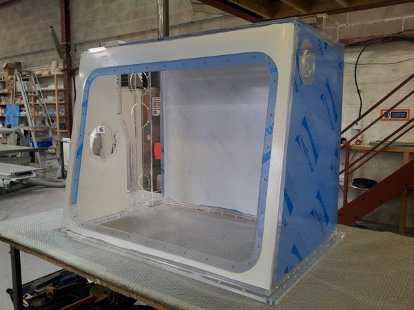 Acrylic Isolator to accept a Visor c/w Glove Ports