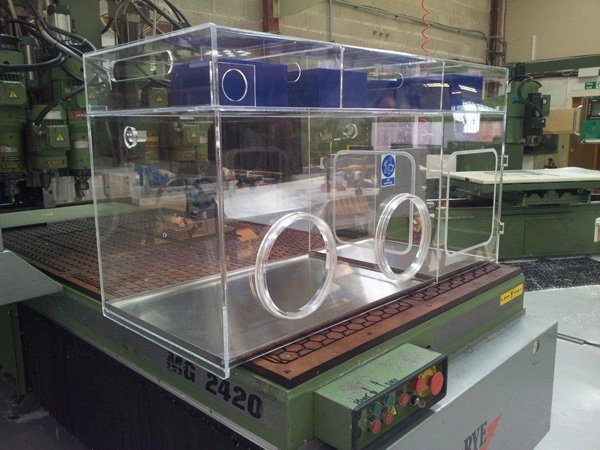 Perspex Acrylic Isolator & pass through hatch. Our customer required Blue Filter Housings on this fabrication